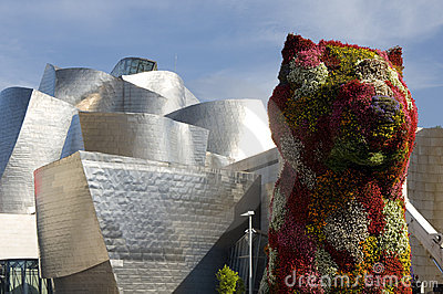 Colorful puppy sculpture, Bilbao, Basque Country Editorial Stock Image