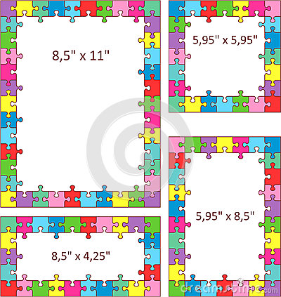 Colorful puzzle frames