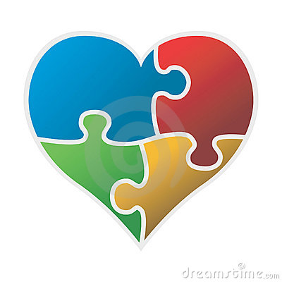 Free Colorful Puzzle Heart Vector Royalty Free Stock Image - 15735606