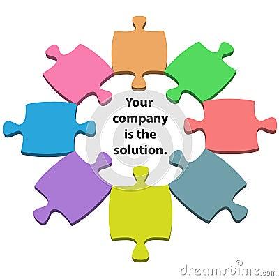 Colorful puzzle pieces center solution copy space