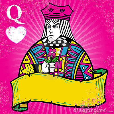Colorful Queen Of Hearts With Banner Illustration Stock Image - Image: 7488491