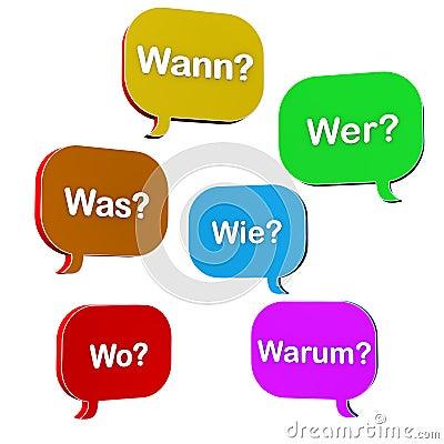 Colorful question dialogue bubbles
