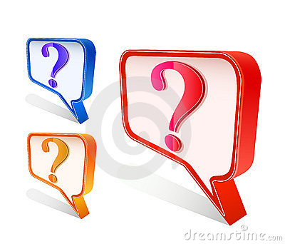 Colorful question mark on chat sign