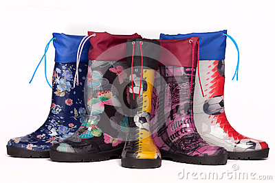 Colorful rain boots Stock Photo