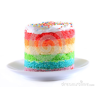 Slice Of Cake On White Plate Rainbow