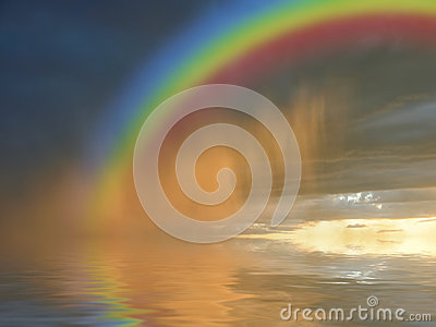 Colorful rainbow over water