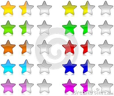 Colorful rating stars set