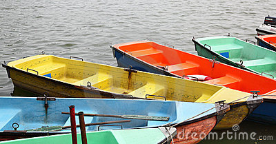 Colorful recreation boats