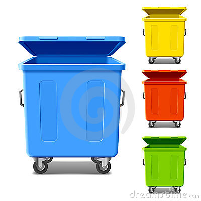 Colorful recycling bins