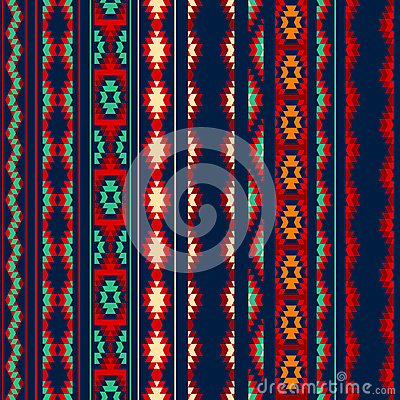 Free Colorful Red Orange Blue Aztec Striped Ornaments Geometric Ethnic Seamless Pattern Royalty Free Stock Photos - 60100318