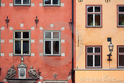 Colorful red and yellow buildings in Stockholm