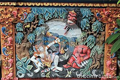 Colorful relief mural of Ramayana Hindu myth in Bali