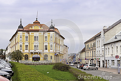 Street with pastel colored buildings in Banska Bys Editorial Photo