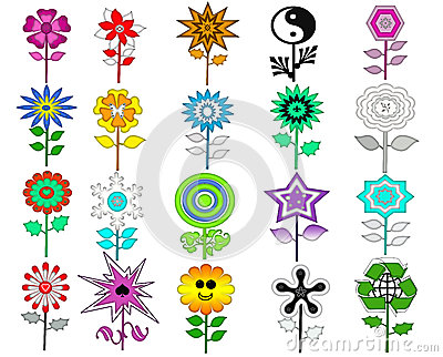 Colorful Retro Flowers Set