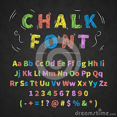 Free Colorful Retro Hand Drawn Alphabet Letters Drawing With Chalk On Black Chalkboard Royalty Free Stock Photography - 104236507