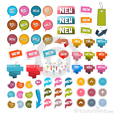 Free Colorful Retro Paper Set Of Discount And New Vector Labels, Tags, Arrows Royalty Free Stock Images - 37895149