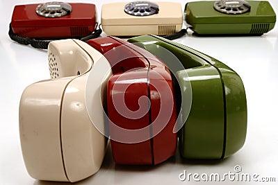 Colorful retro phones