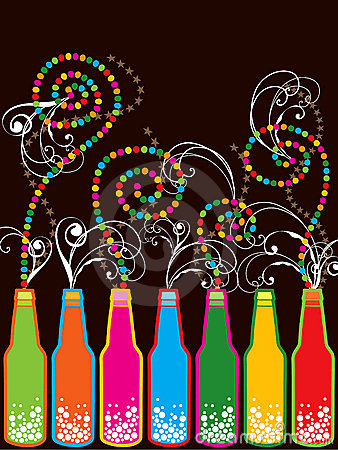 Free Colorful Retro Pop New Year Bottles Stock Image - 3780191