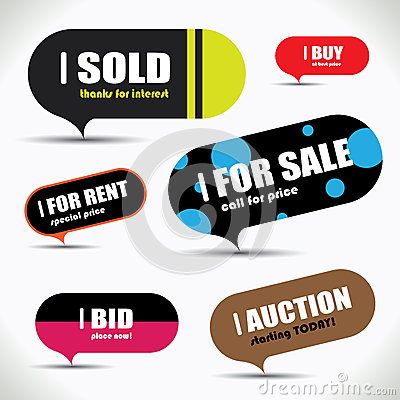 Colorful and retro sale bubble set