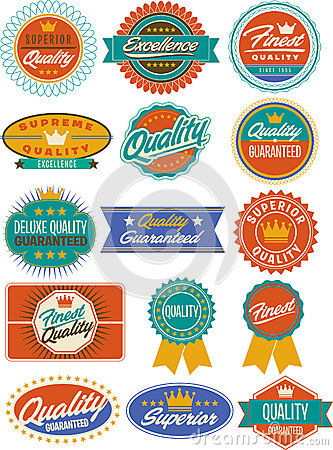 Colorful retro vintage labels, seals and crests