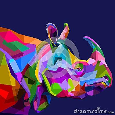 Free Colorful Rhinoceros On Pop Art Royalty Free Stock Photos - 122329218