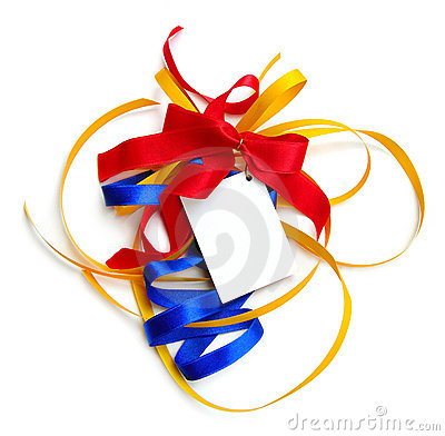 Colorful ribbons,card,isolated