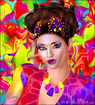 Free Colorful Ribbons, Swirls, Beads And Makeup Adorn This Modern Digital Art Image Of A Woman S Face Close Up. Royalty Free Stock Photos - 64458028