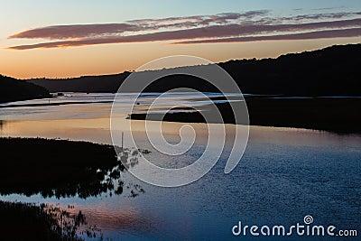 Colorful River Landscape Sunset