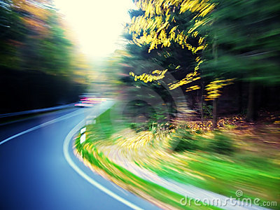 Colorful road motion blur