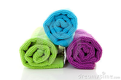 Colorful rolled towels