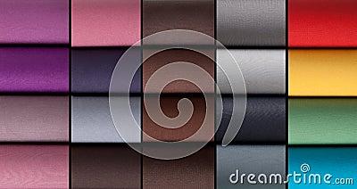Colorful rolls of lycra, nylon, microfiber