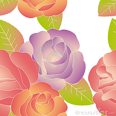 Colorful rose flower seamless pattern