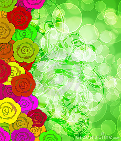 Colorful Roses Border with Blurred Background