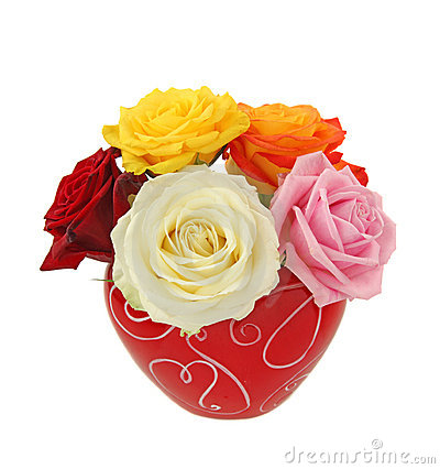 Colorful roses in red vase