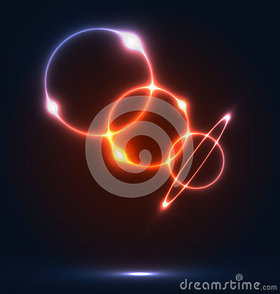 Colorful round bubbles with light effects