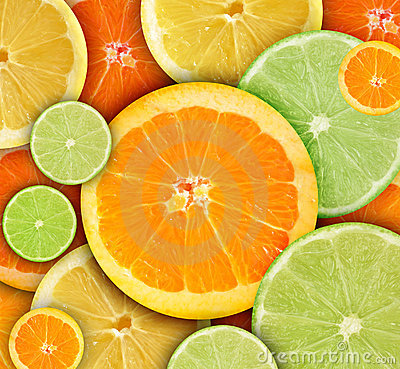 Colorful Round Citrius Fruit Background