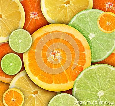 Free Colorful Round Citrius Fruit Background Royalty Free Stock Image - 18242586