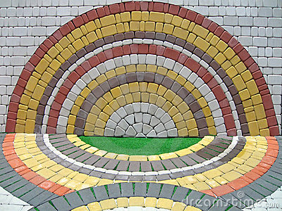 Colorful round construction brick wall, symmetry,