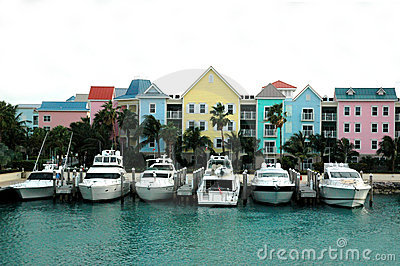 Colorful row of houses and boats