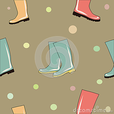 Colorful rubber boots seamless background vector Vector Illustration