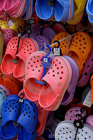 Colorful rubber shoes