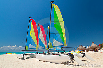 Colorful sail catamarans