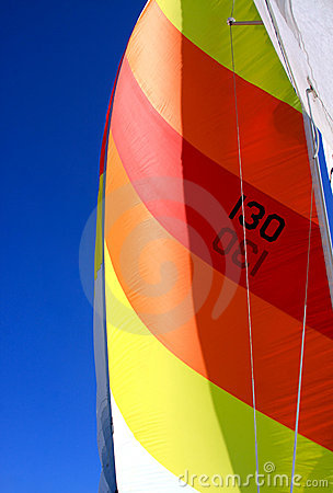 Colorful Sail on a Sailboat