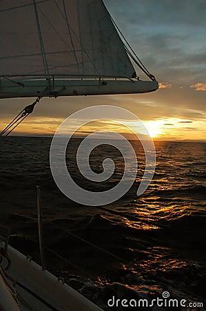 Colorful sailing sunrise