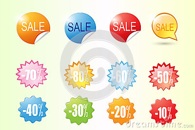 Colorful Sale Label Vector