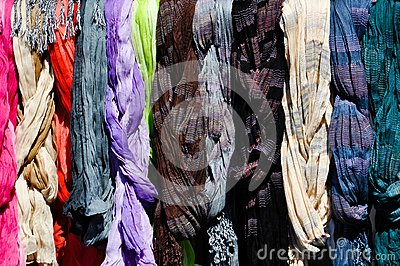 Colorful scarves on a rack
