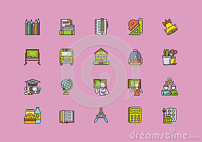 Colorful School Thin Lines Outline Stroke Icons Vector Illustration