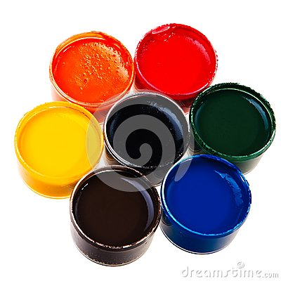 Colorful school water paints.