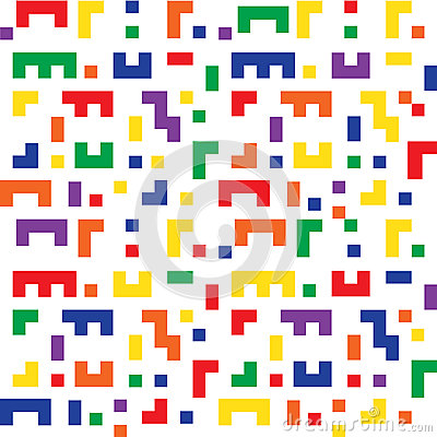 Colorful seamless background shapes similar to Tetris game Vector Illustration