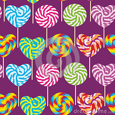 Free Colorful Seamless Pattern, Candy Lollipops, Spiral Candy Cane. Candy On Stick Royalty Free Stock Photo - 79964475